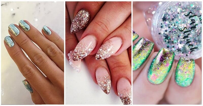 Sparkly Glitter nails για ένα extra look